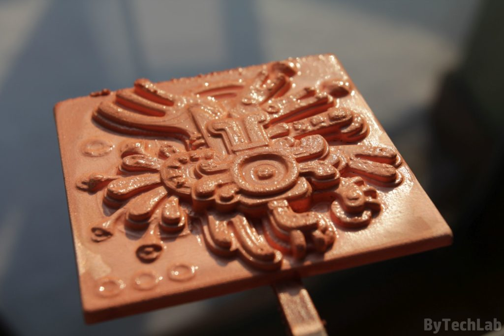 Copper plating 3D prints - Finished coating view at angle