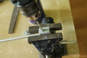 Discone antenna - Drilling holes in aluminum rods with help of drill guide and a vice (disc rods)