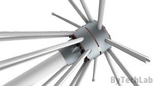 Discone antenna - Side view render