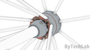 Discone antenna - Bottom view render