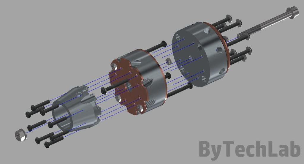 Discone antenna - Exploded view render