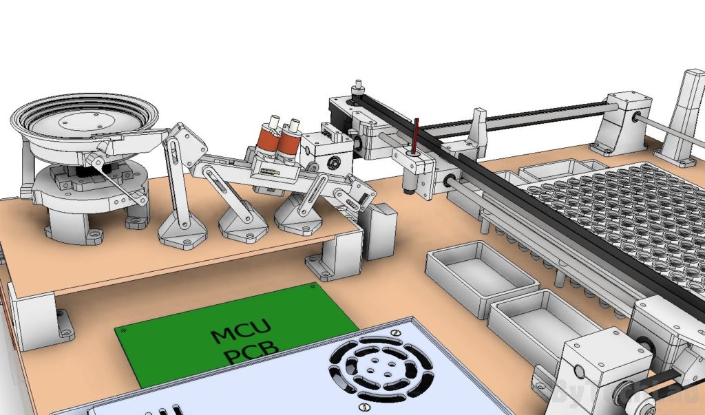 SMD parts sorting machine - early design render - view at the sorting line