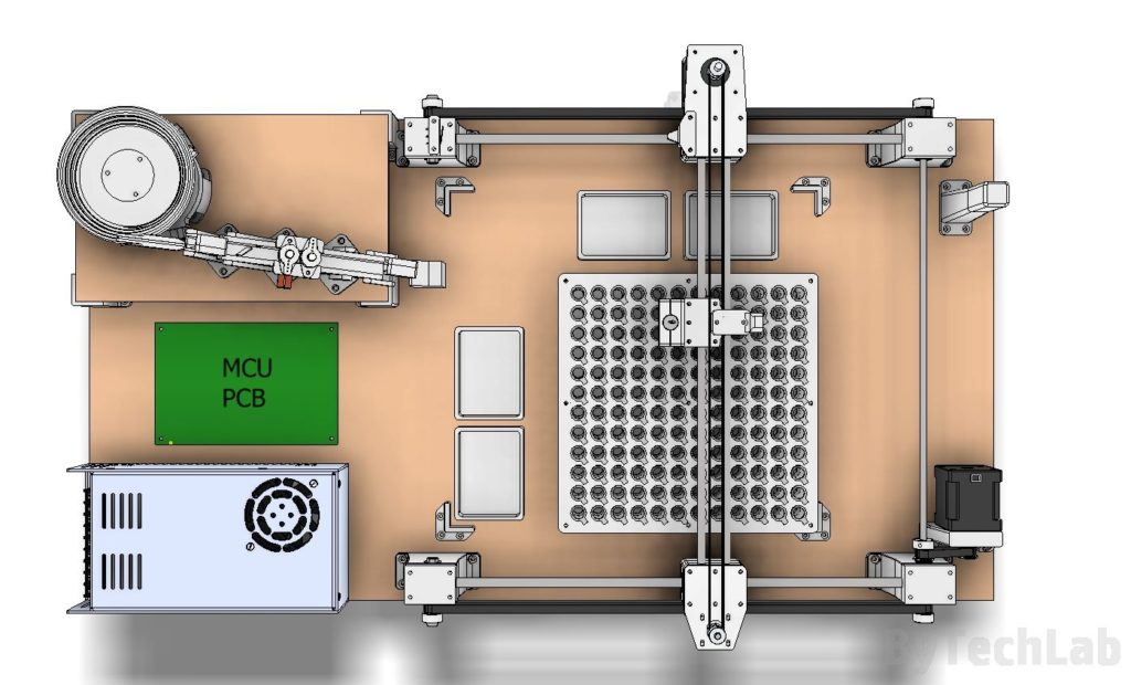 SMD parts sorting machine - early design render - top view