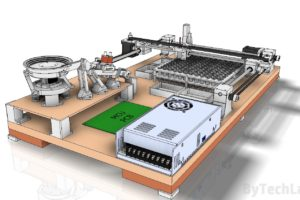 SMD parts sorting machine - early design render - view at an angle