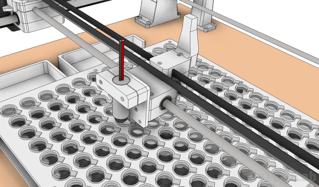 SMD parts sorting machine - early design render - view at the x axis carriage