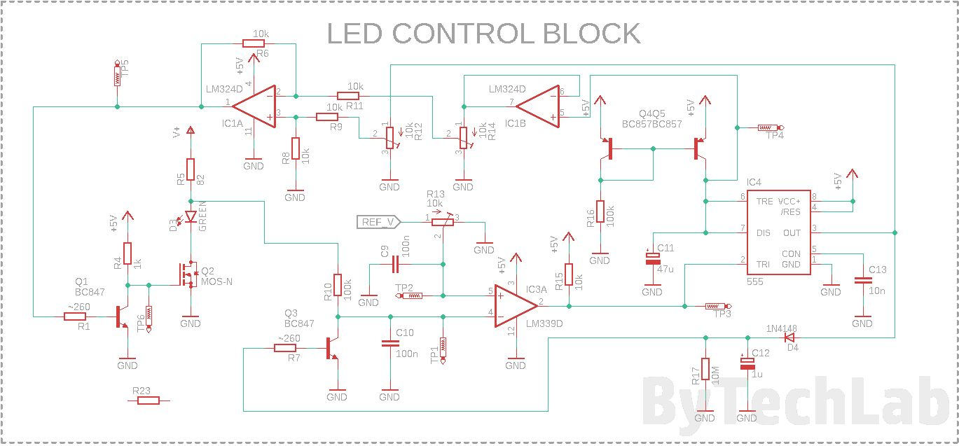 An LED you can blow out like a candle - Schematic - LED control block