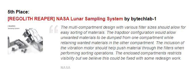 Lunar Sampling System - Competition results