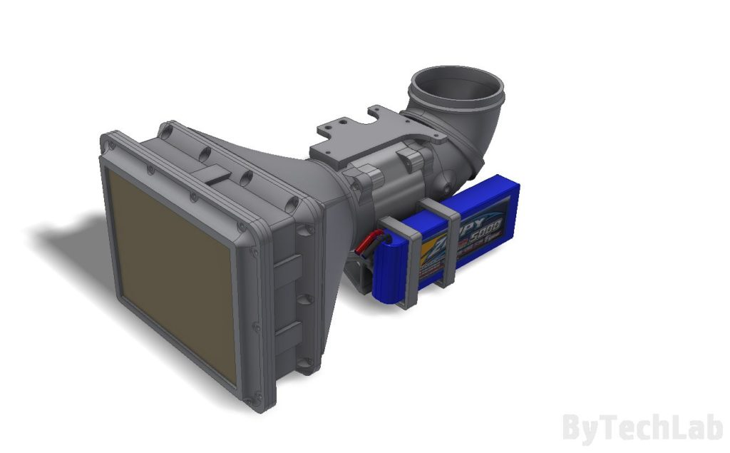 Air filtering unit & pressure suit (COVID-19) - Front view render