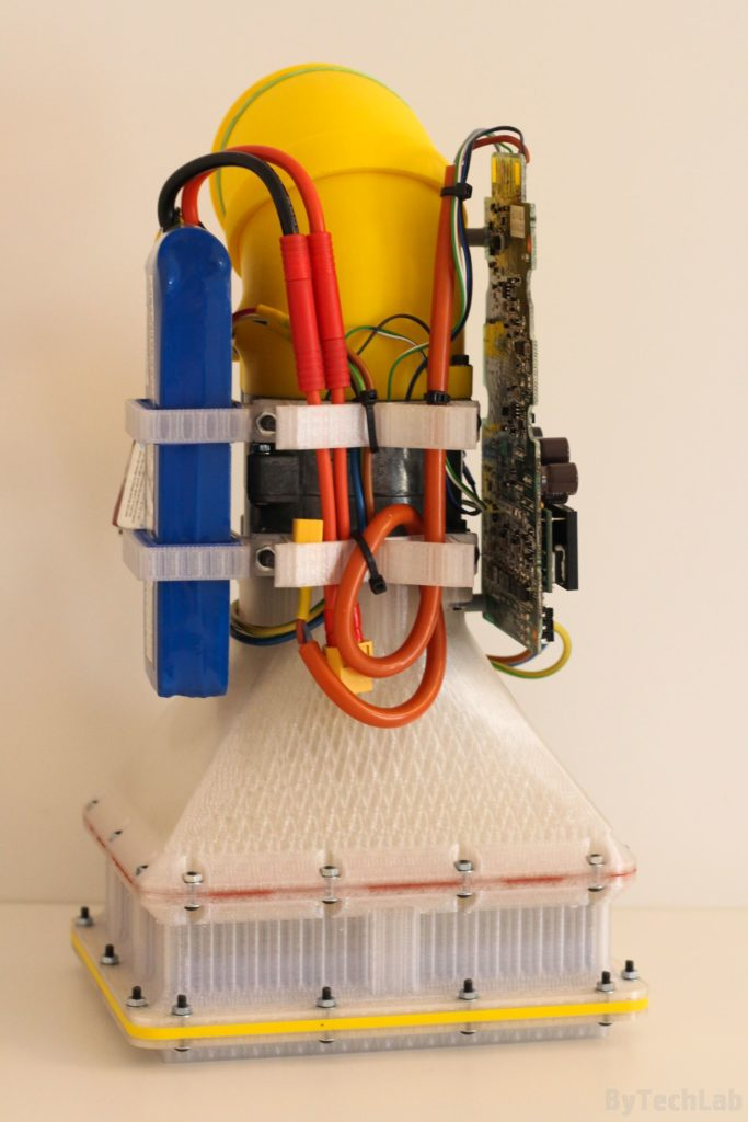 Air filtering unit & pressure suit (COVID-19) - Bottom view